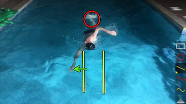 screenshot from a video analysis in the pool