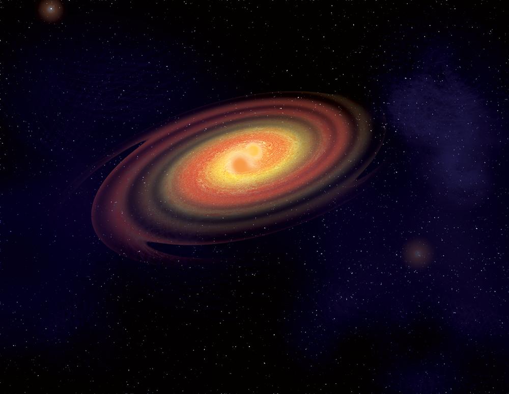 Artist's interpretation of the merging of two neutron stars.