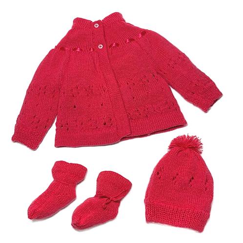 Conjunto casaco, touca e sapato