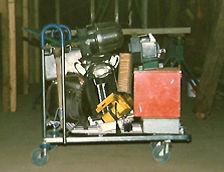 Chariot avec tous les outils de Didier Leprevier au départ de son activité
