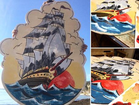 Peinture sur bois bateau