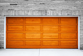 wooden garage door installed