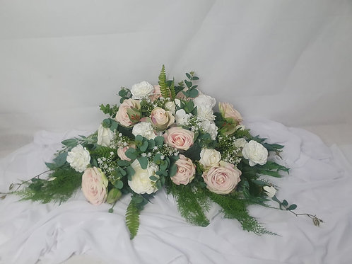 Pale Pink and White Rose Bridal Table