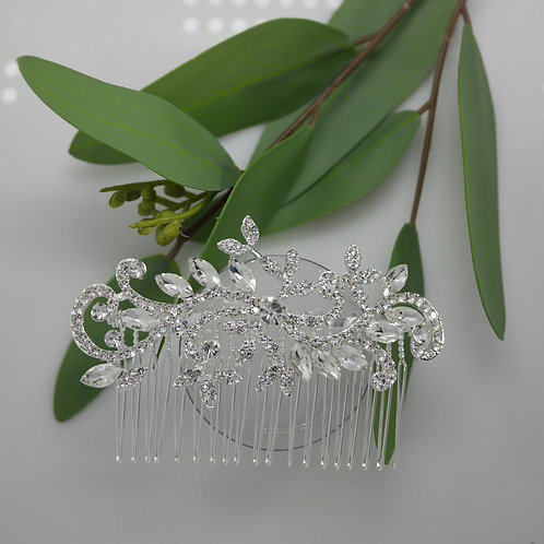 Crystal and Diamante Swirls Hair Comb