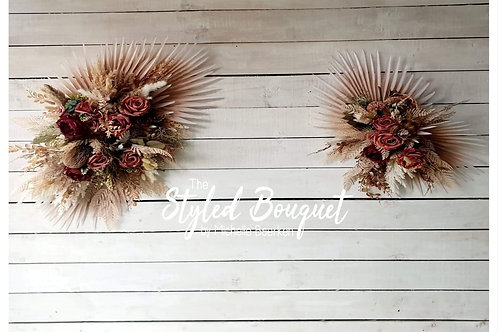 Maroon, Burgundy, Pink and Palm Leaf Wall Decoration