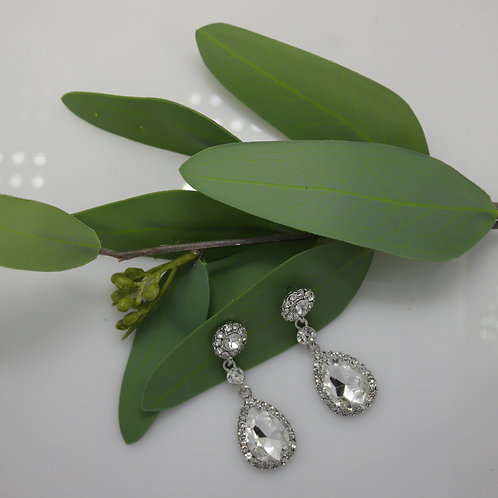 Single Crsytal Drop Earrings