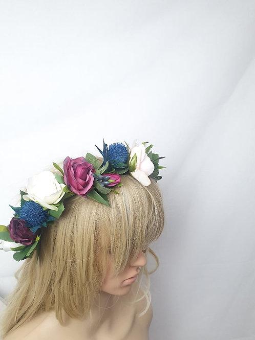 Ruby Blue Flower crown
