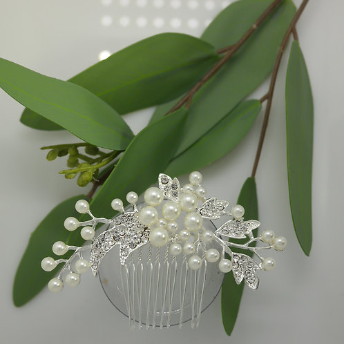 White Pearl and Diamante Hair comb