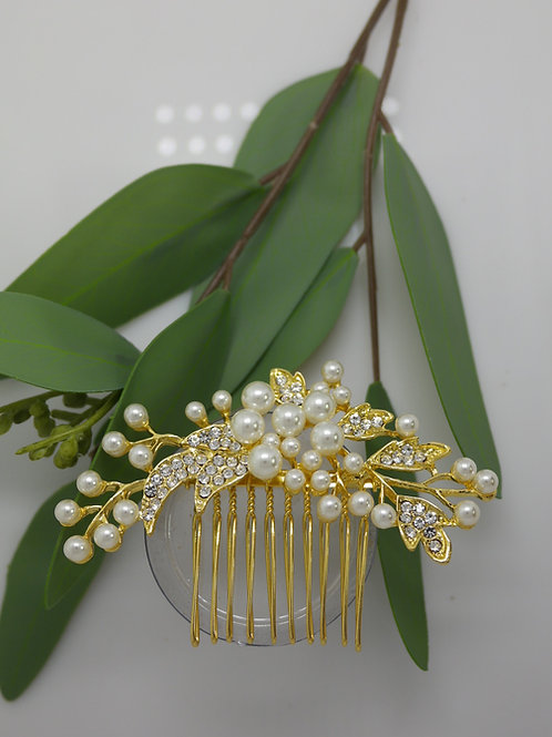 Gold Pearl Cluster Hair Comb