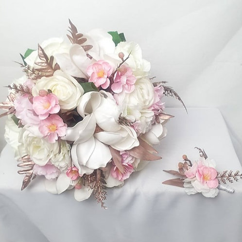 Magnolia Cherry Blossom Bridal Bouquet