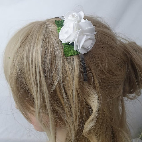 White Rose Head Band