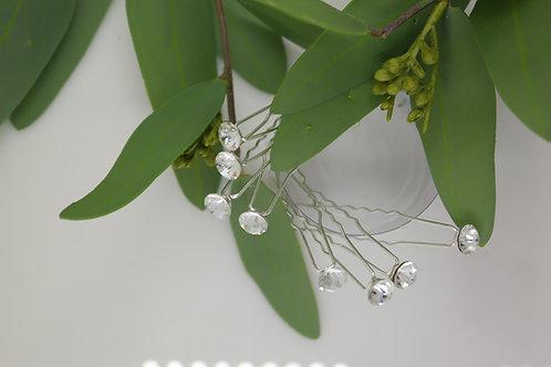 Set of 8 Crystal Hair Pins