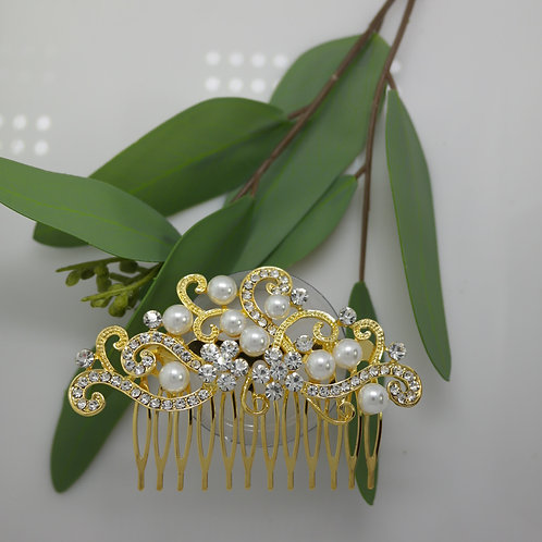 Gold Diamante Swirls with white pearls