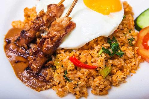 Saté met nasi, Indische koolsalade en ei