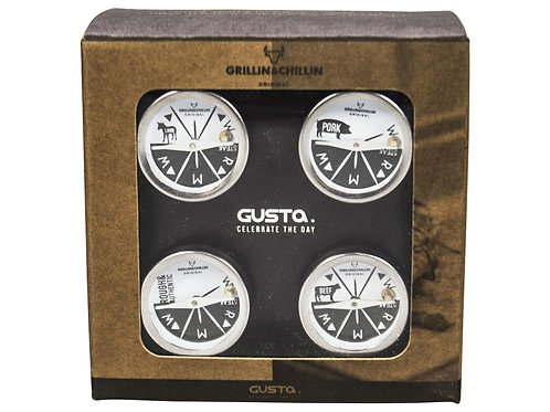 GUSTA BBQ THERMOMETER GIFTSET 4DLG