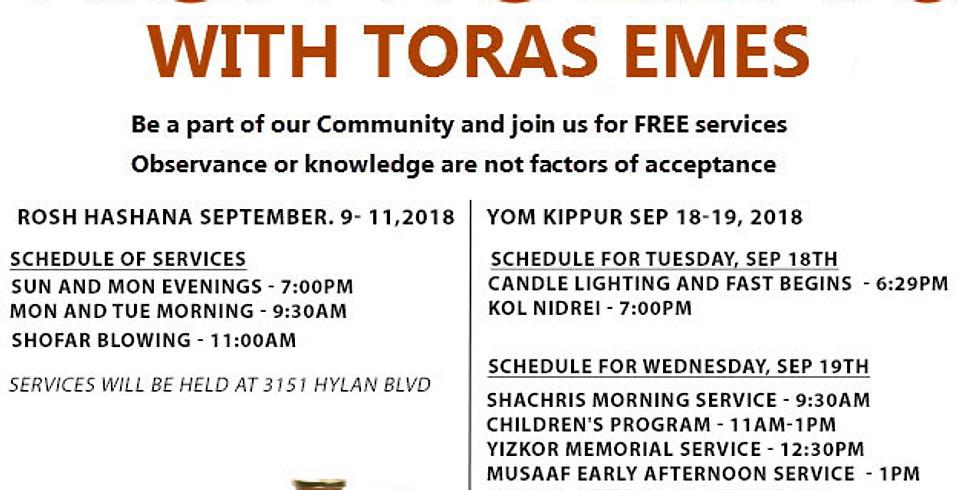 FREE Rosh Hashana Services with Toras Emes