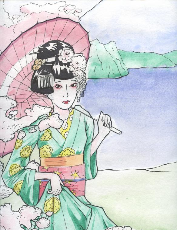 Watercolor Geisha