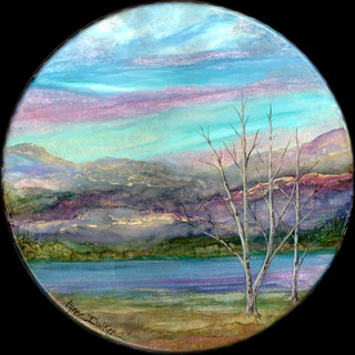 Original Alcohol Ink painting on a large (functional) hand drum.