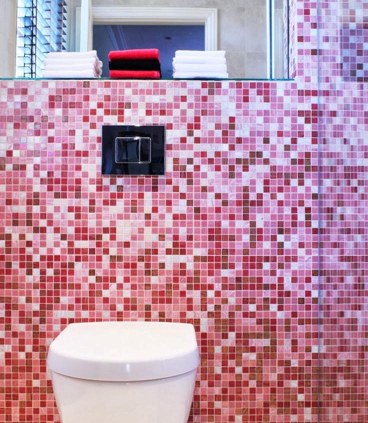 small pink mosaic tiled bathroom pink ti