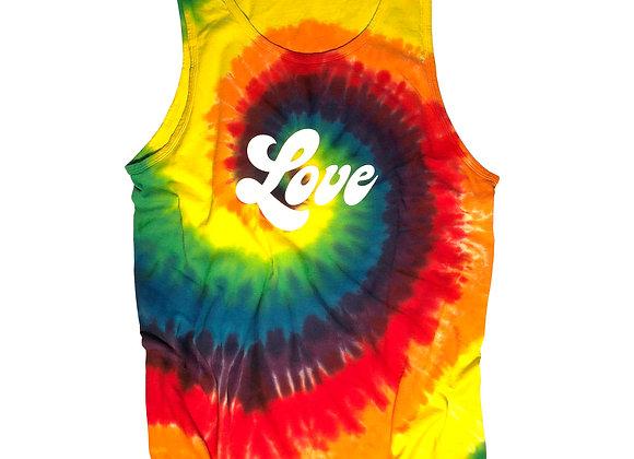 Love Script-Rainbow Tie Die Tank