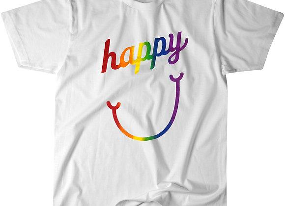"""happy face"" - White Crew T-shirt"