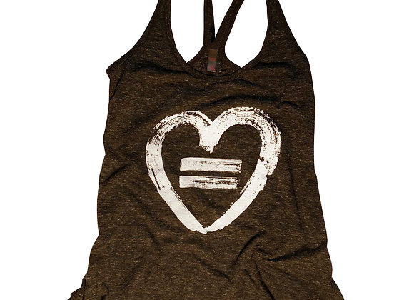 Equality Heart-Tank-Black Frost