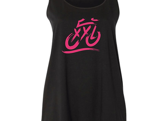 XXL Logo Curvy Tank - Black with Hot Pink