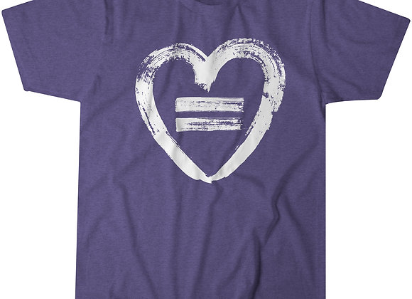 Equality Heart - Purple Heather Crew T-Shirt