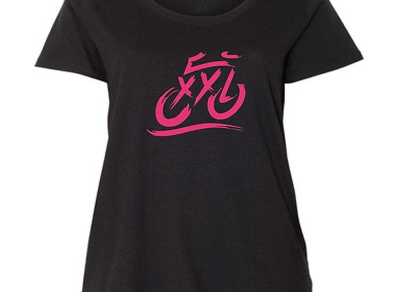 XXL Logo Curvy Crew - Black with Hot Pink