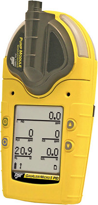 GasAlert Micro V %LEL, O2, H2S, CO, Cl2 - rechargeable battery and pump, yellow