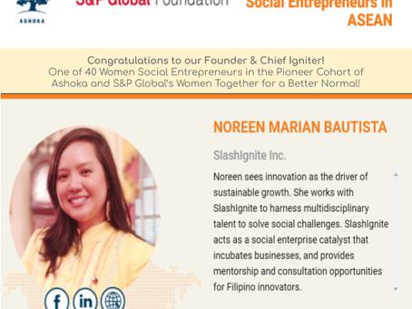 SlashIgnite Founder Chosen as 1 of 40 #WomenSocialEntrepreneurs for Ashoka and S&P Global Program