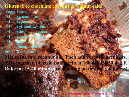 Gluten-free chocolate coconut & walnut cake