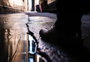 A photograph taken in downtown alley in
