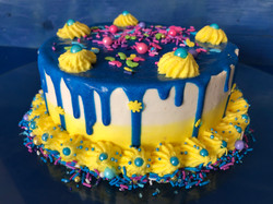 Blue & Yellow Drip Cake