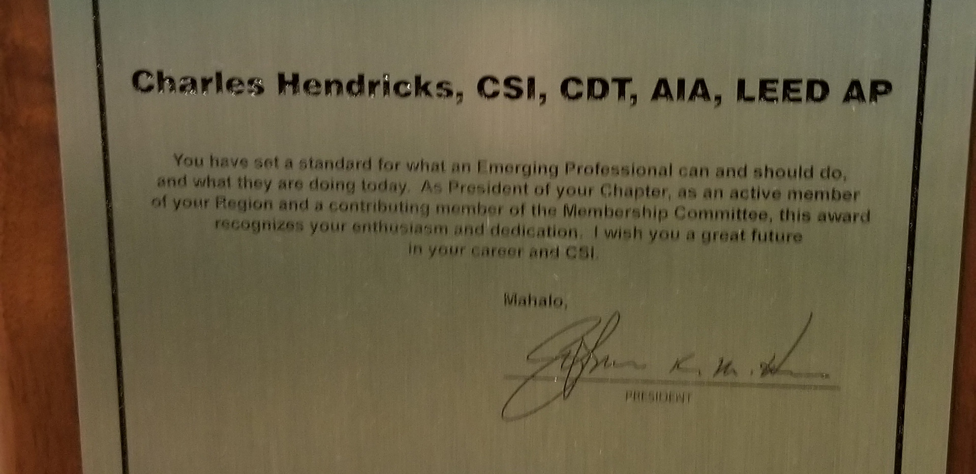 Construction Specifications Institute President's Plaque