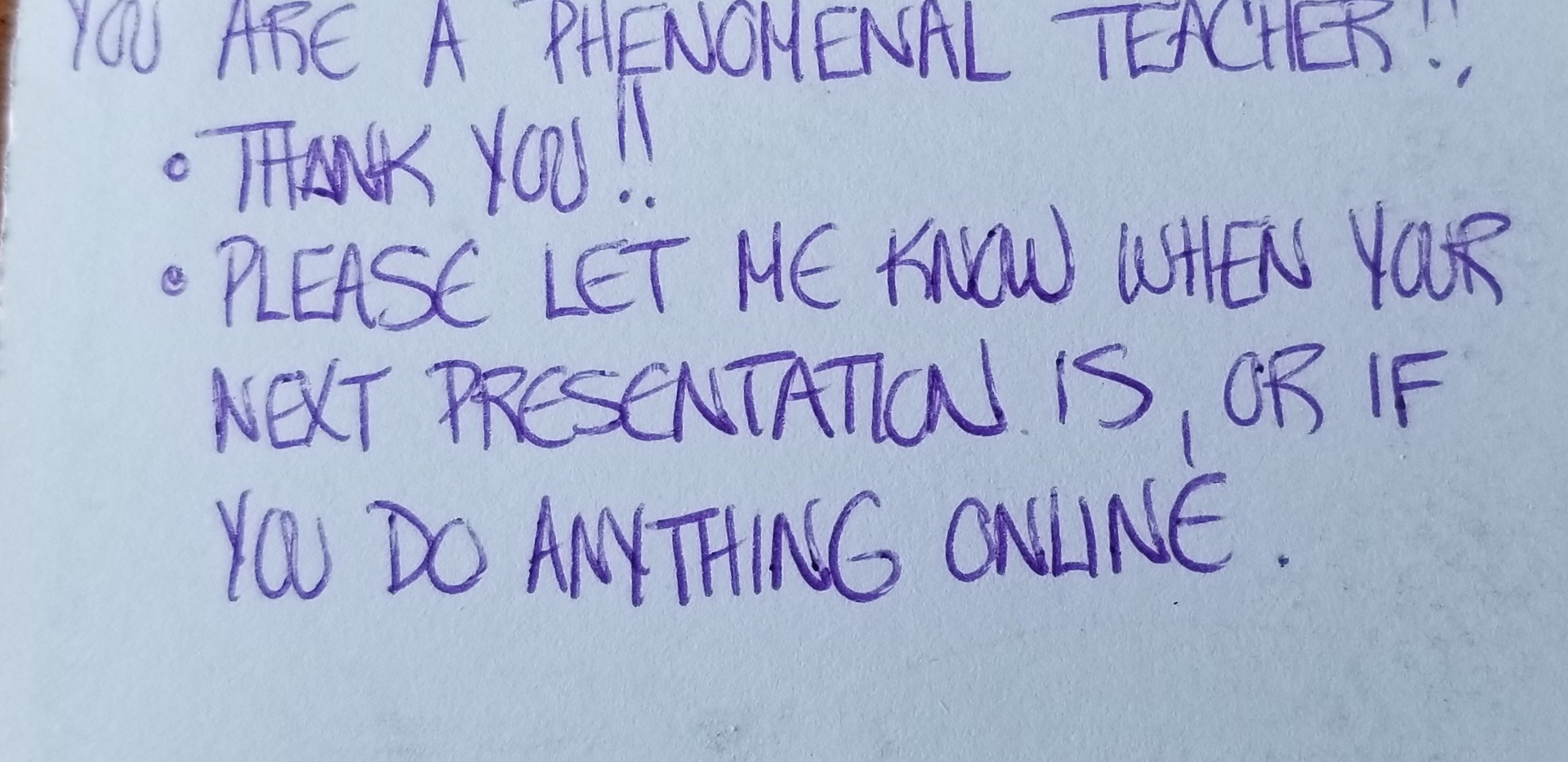 Student review after teaching a class
