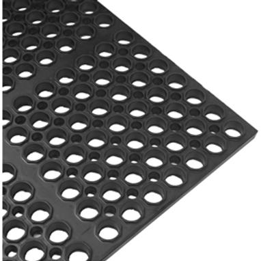 3 x 5 Heavy Duty 7/8 inch Rubber Mat- Black w/anti-slip technology