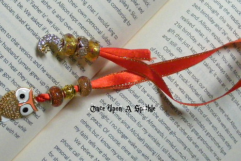 red ribbon with owl & moon with rhinestones