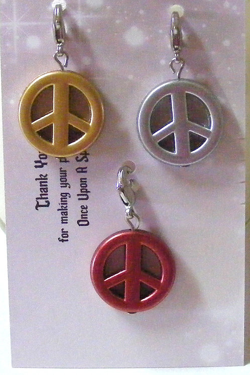 Zipper Pulls - Peace gold silver red