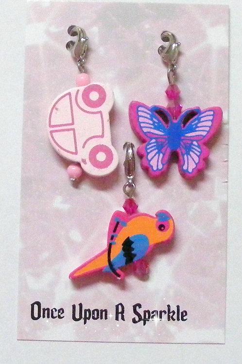 Zipper Pulls Car Butterfly Pink Parrot