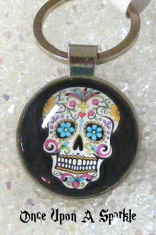 black sugar skull pendant key ring