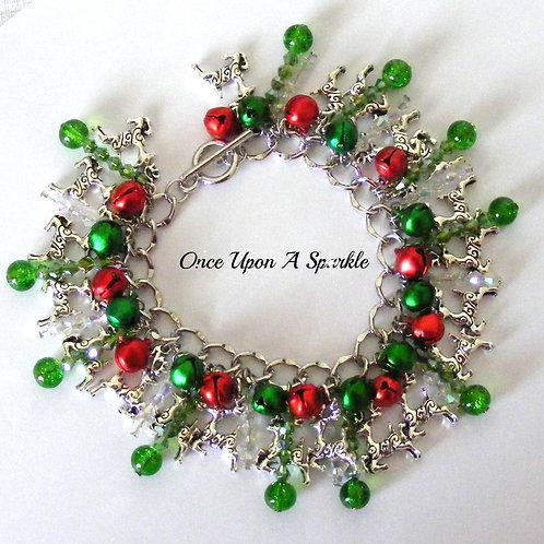Charm Bracelet - Christmas reindeer red & green
