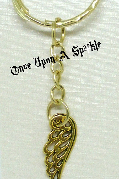Gold toned key ring with filigree antique gold Angel Wing