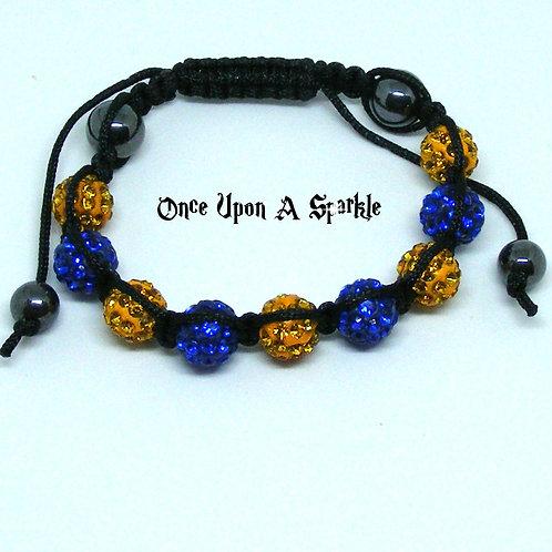 Mustard Yellow & Sapphire Blue with Hematite Beads