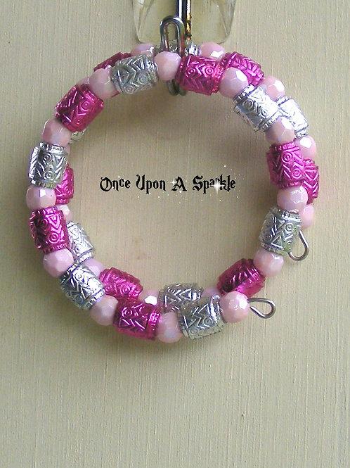 Wrap Bracelet - Hot Pink & Silver Barrels