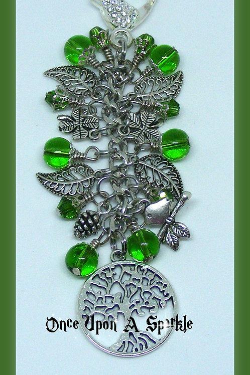 Green leaves, pine cone, bird & tree of life/knowledge bag dangle