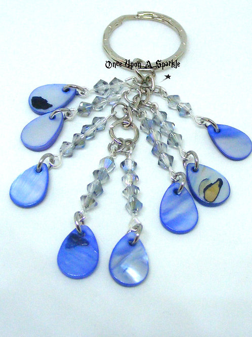 Blue Tear Drop Shell Key Ring