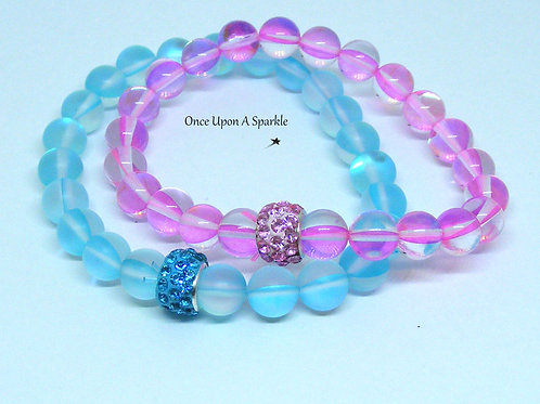 Aqua frosted flash & Pink flash stretch bracelet