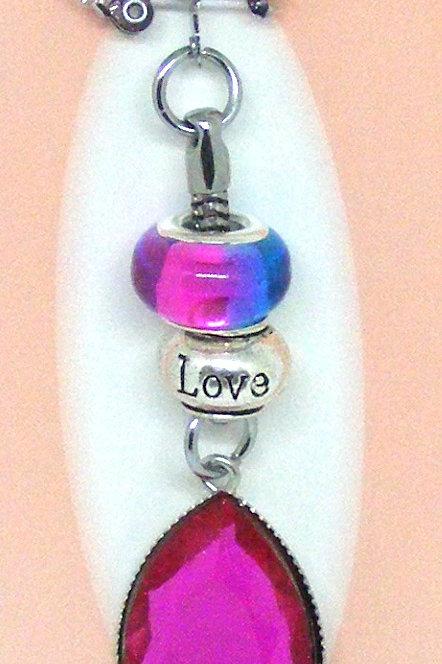 Hot Pink Tear Drop Love Key Ring