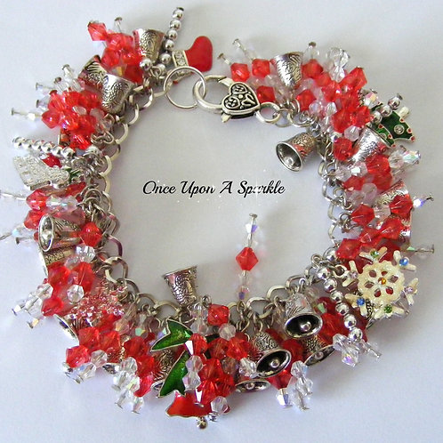 Christmas red & white sparkly beads with silver bells